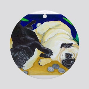 Pug Play Ornament (Round)