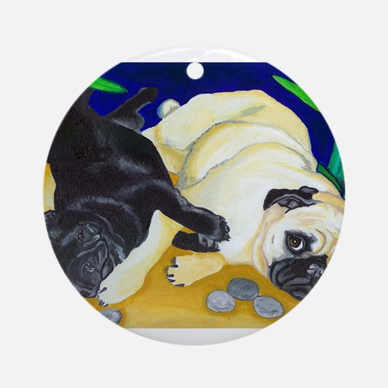 Pug Play Ornament (Round)