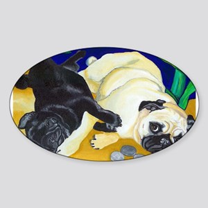 Pug Play Oval Sticker