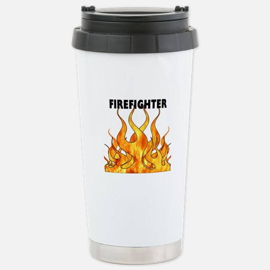 Firefighting Flames Stainless Steel Travel Mug