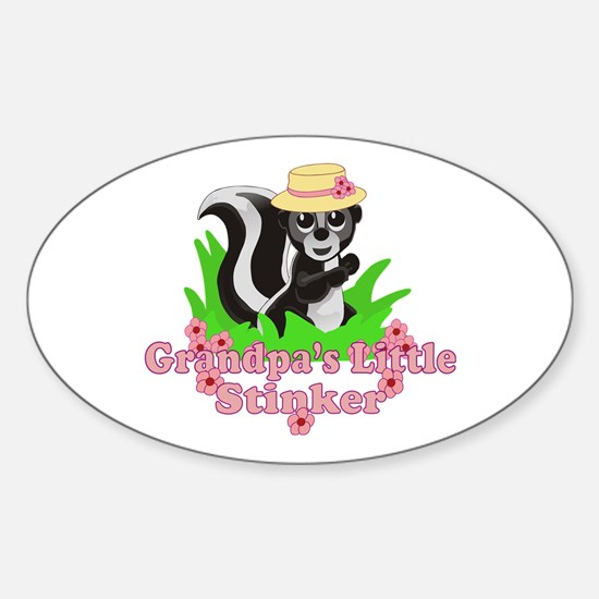 Grandpa's Little Stinker Girl Sticker (Oval)