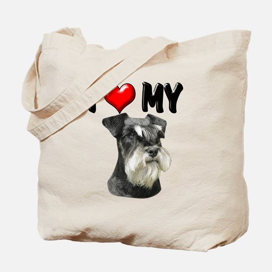 I Love My Miniature Schnauzer Tote Bag