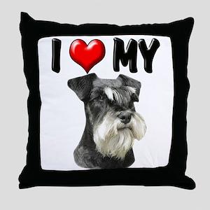 I Love My Miniature Schnauzer Throw Pillow