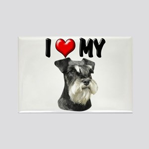 I Love My Miniature Schnauzer Rectangle Magnet