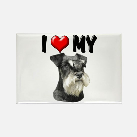I Love My Miniature Schnauzer Rectangle Magnet (10