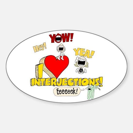 I Heart Interjections Sticker (Oval)