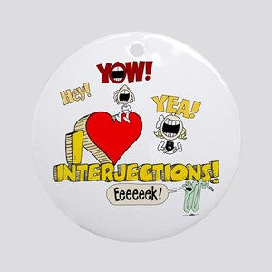 I Heart Interjections Round Ornament