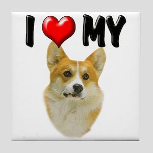 I Love My Corgi Tile Coaster