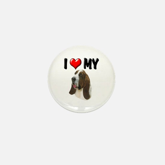 I Love My Basset Hound Mini Button