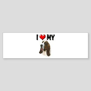 I Love My Basset Hound Sticker (Bumper)