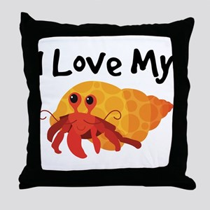 I Love My Hermit Crab Throw Pillow