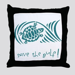 save the gulf - water turtle Throw Pillow