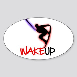 Wake Up Red/Purple Sticker (Oval )