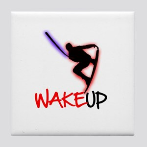 Wake Up Red/Purple Tile Coaster