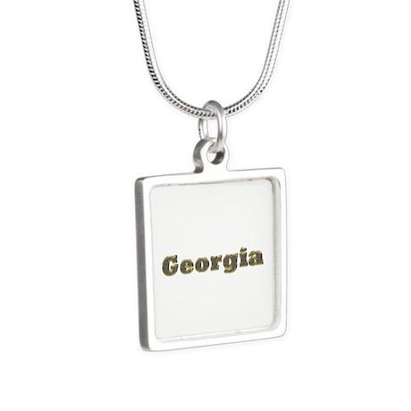Georgia Gold Diamond Bling Silver Square Necklace