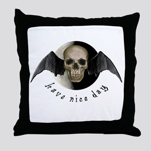 Winged Skull w/Have a Nice Da Throw Pillow