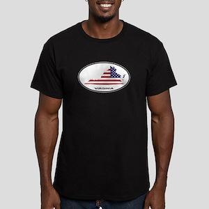 Virginia Shape USA Oval Men's Fitted T-Shirt (dark