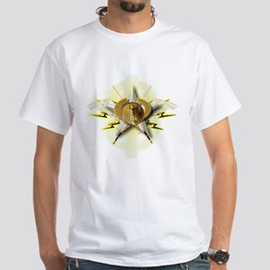 Golden Emblem of Wealth White T-Shirt