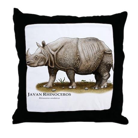 Javan Rhinoceros Throw Pillow