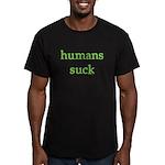 humans suck Men's Fitted T-Shirt (dark)