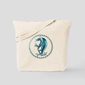 Blue Celtic Dragon Tote Bag