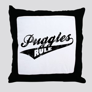 Puggles Rule Throw Pillow