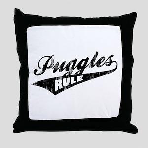 Puggles Rule Throw Pillow