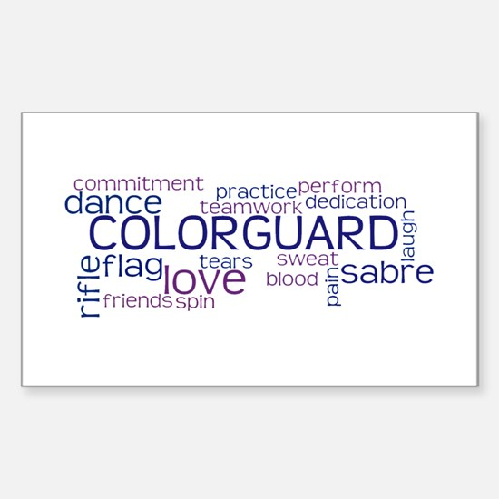 COLOR GUARD Words Sticker (Rectangle)
