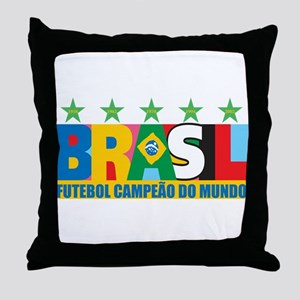 Brazilian World cup soccer Throw Pillow