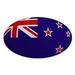 New Zealand Flag Rounded Oval Sticker