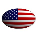USA flag rounded Oval Sticker