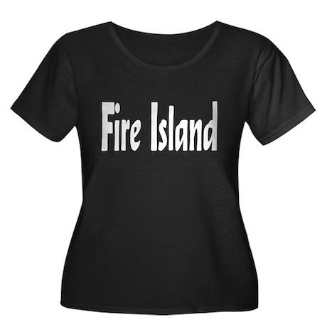 Fire Island Women's Plus Size Scoop Neck Dark T-Sh