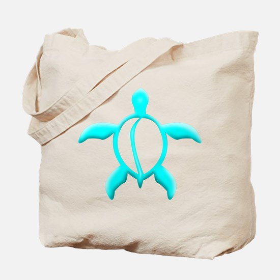 Aqua Blue Turtle Tote Bag