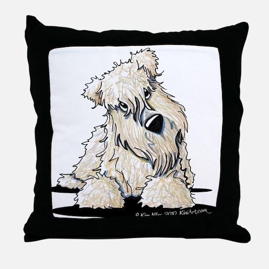 Curious Wheaten Terrier Throw Pillow