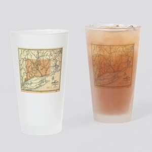 Vintage Connecticut Railroad Map (1 Drinking Glass