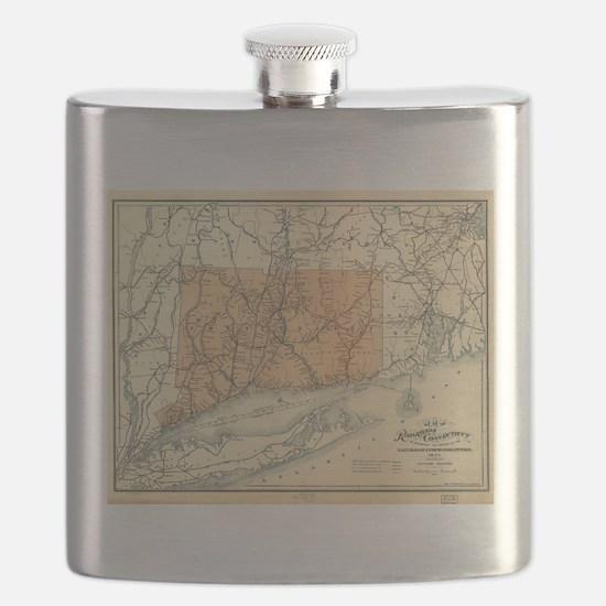 Vintage Connecticut Railroad Map (1893) Flask