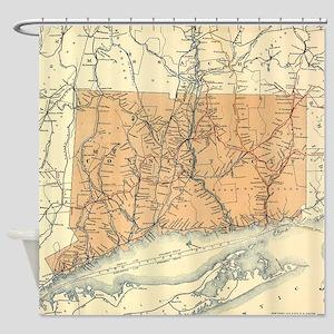 Vintage Connecticut Railroad Map (1 Shower Curtain