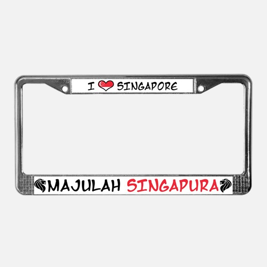 I Love Singapore License Plate Frame
