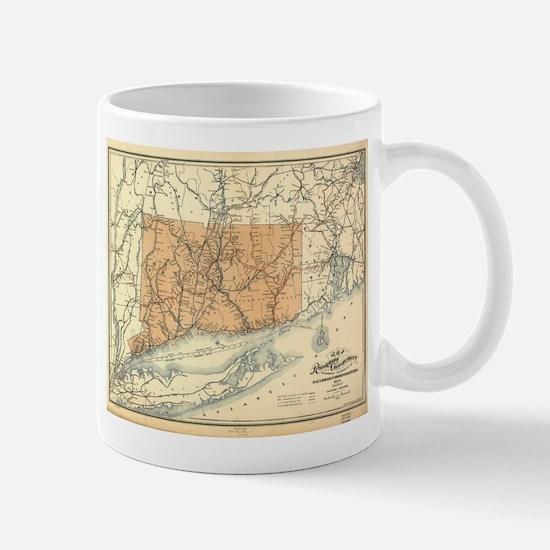 Vintage Connecticut Railroad Map (1893) Mugs