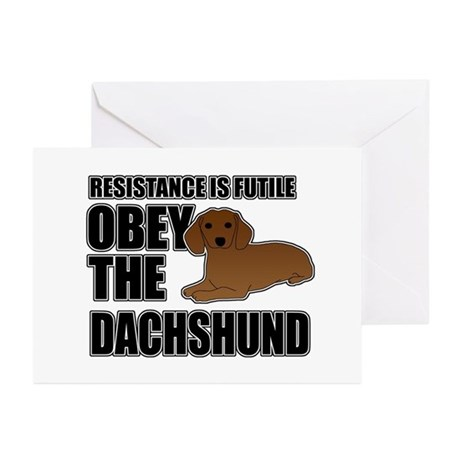 Obey The Dachshund Greeting Cards (Pk of 10)
