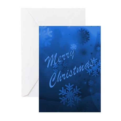 Blue Christmas Snowflakes Greeting Cards (Pk of 10