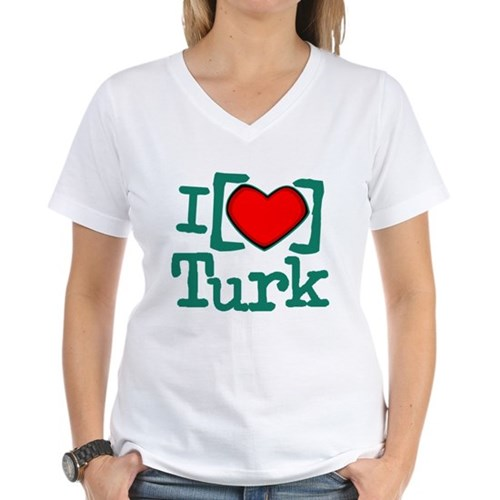 I Heart Turk Women's V-Neck T-Shirt