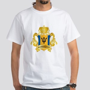 Gold Barbados White T-Shirt