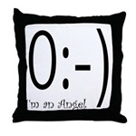 Angel Text Smiley Face Throw Pillow