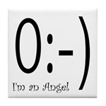 Angel Text Smiley Face Tile Coaster