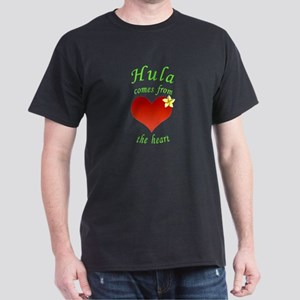 Hula heart plumeria no background green tex T-Shir
