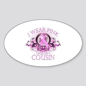 I Wear Pink for my Cousin (floral) Sticker (Oval)