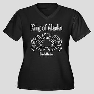King of Alaska-White outline- Women's Plus Size V-