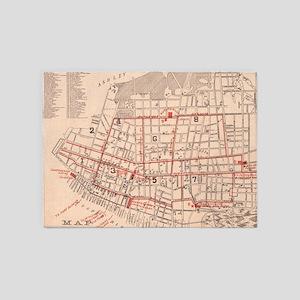 Vintage Map of Charleston South Car 5'x7'Area Rug