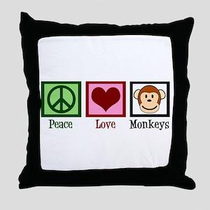 Peace Love Monkeys Throw Pillow